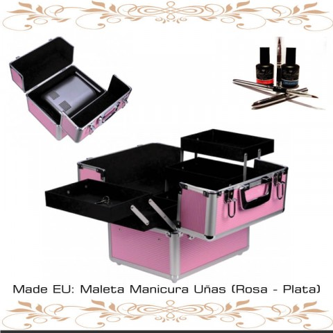 Maleta Manicura Uñas Rosa y Plata