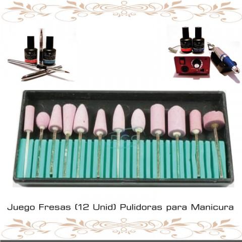 Juego Fresas (12 Unid) Pulidoras para Manicura