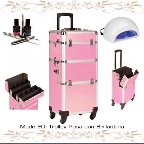 Trolley Manicura Rosa con Brillantina TENERIFE